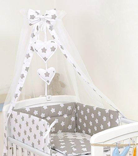 PRO COSMO 11 Piezas juego de ropa de cama para cuna de bebé cama edredón, dosel + soporte (140x70cm, 19 Estrellas grises)