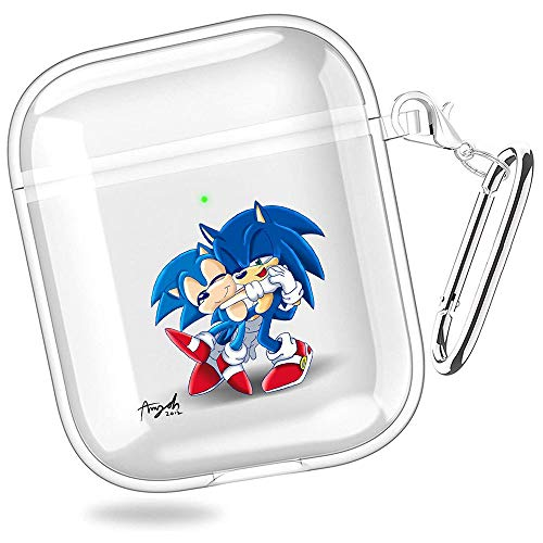 huijiameikeji Sonic Generations Amy Rose Sonic Classic Collection Sonic The Hedgehog Metal Sonic Transparent Shell Case Cover for AirPods 1/2 XTBD-632