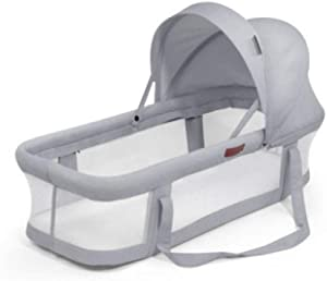 YANGGUANGBAOBEI Travel Crib  Breathable Lounger Cotton Waffle Handmade Reducer for Bedroom Travel Camping Multifunctional Baby Nest Grey