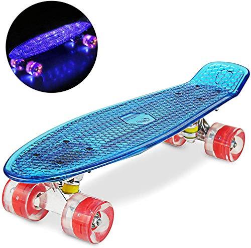 """WeSkate Cruiser Skateboard Komplettboard Mini Skateboard 22\"""" 55 cm Penny Board mit PU LED Rollen, ABEC-7 Kugellager Geschenk für Erwachsene Jugendliche Kinder Mädchen, Blu+Rosso"""