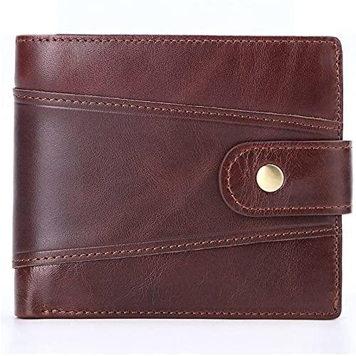 TTWLJJ Cartera Hombre,Porta Tarjetas de Crédito y Cartera - Porta Tarjetas, Dinero y Monedas con Protección RFID Monedero Corto Casual,Marrón