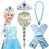 Elsa Wig Package included: 1pc Elsa wig, 1pc princess tiara, 1pc necklace, 1 pair of gloves. Your child can look just like Princess Elsa with this beautiful wig. Perfect for girls birthday parties and dress up games. Great costume accessories for par...