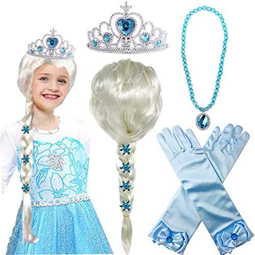 Princess Elsa Wig Frozen Elsa Braid with Princess Tiara Necklace Gloves Princess Elsa Dress Up Costume Cosplay Accessories for Kids Girls
