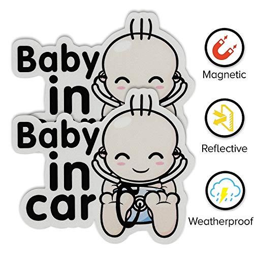 Hyber&Cara Baby an Bord Schild für Auto, magnetisches Baby im Auto Aufkleber, reflektierend in der Nacht, wasserdicht, weiß, 2 Stück