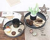 Funly mee 26CM Rundes verzinktes Metalltablett mit Griffen, dekoratives Serviertablett für Couchtisch oder Esstisch - 6