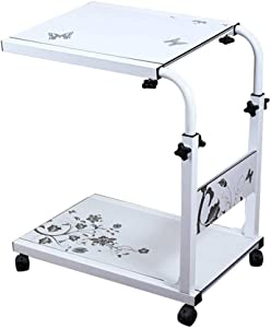 MS Tables Lounger Height Adjustable Bedside Computer Desk Mobile Telescopic Notebook Desk Writing Desk Nursing Table Home Use Desktop Telescopic Move Pulley Two Colors @ (Color : White)