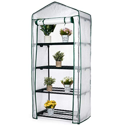 Bramble - 4 Tier Mini Gardening Greenhouse with Wire Shelves - Easy to Assemble