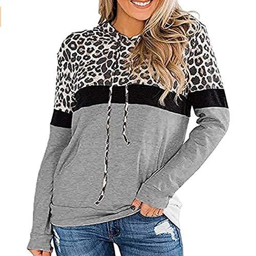 HOSD Leopardo Estampado Costura Mujer, para de de con Suéter Manga Suelto de Top Larga tamaño Gran de