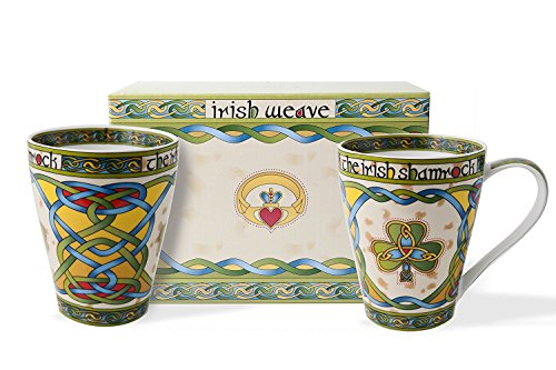 Royal Tara Irish Bone China 13oz Cup Set with Shamrock Gift Box Cup Capacity: 380 ml/13 fl oz