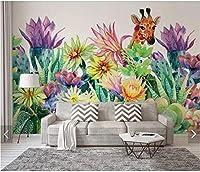 Bosakp 水彩北欧植物花壁紙壁画寝室の家の壁の装飾手描きの接触紙サボテン鹿3D壁壁画 360X250Cm