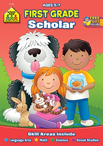School Zone - First Grade Scholar Workbook - 32 Pages, Ages 5 to 7, 1st Grade, Nouns, Vowels, Punctuation, Geometric Shapes, and More