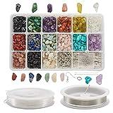 PandaHall 1102 cuentas de piedras preciosas naturales que incluyen ganchos para pendientes y pasadores para los ojos, alfileres de cabeza y...