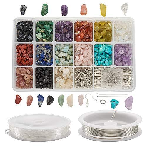 Beadthoven 900 Pezzi 15 Colori 5~8mm Chips Perline di Pietre preziose Kit di Perline di Pietra Irregolari con Ganci per Orecchini Spilli per Occhi Filo di Rame da 0,8 mm Filo di Cristallo Elastico
