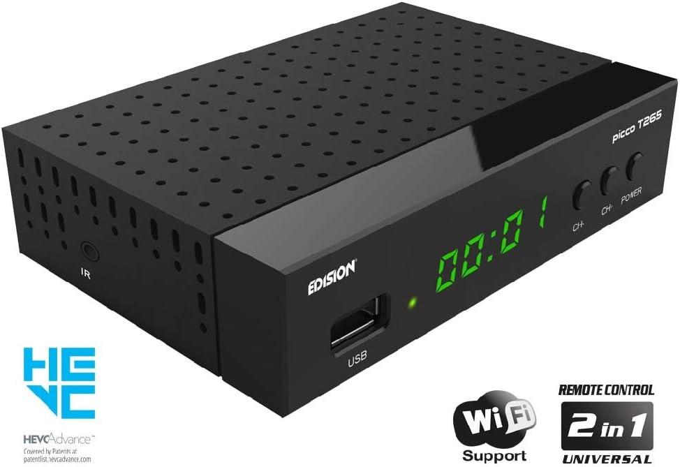 Decoder DVB-T2 con telecomando universale 2 in 1