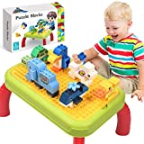 HOMOFY Building Block Table for Toddler, 80+ PCS Multifunctional Learning Activit Table, Learning & Development Building Block Educational Toys for 3 4 5 6 7 Years Old Boys Gilrs Gifts