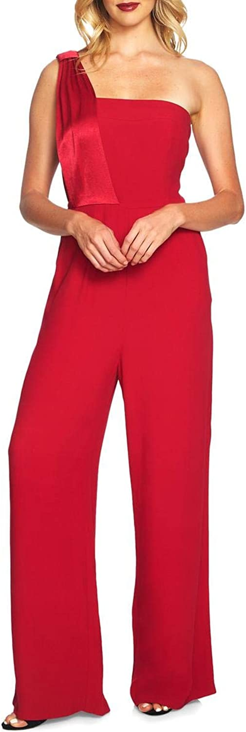 1.State Womens One Shoulder Mixed Media Jumpsuit Red 2