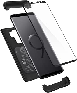 Spigen Thin Fit 360 Designed for Samsung Galaxy S9 Plus Case (2018) Tempered Glass Screen Protectors Included - Black