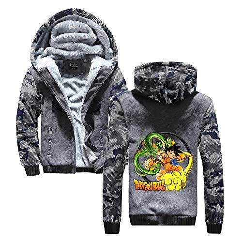 Vhunkjnr Dragon Ball Pullover Chaqueta con Capucha con Cremallera for Hombre Animado Escudo Impreso Caliente Espesa Populares de Abrigo Unisex (Color : Grey29, Size : M)