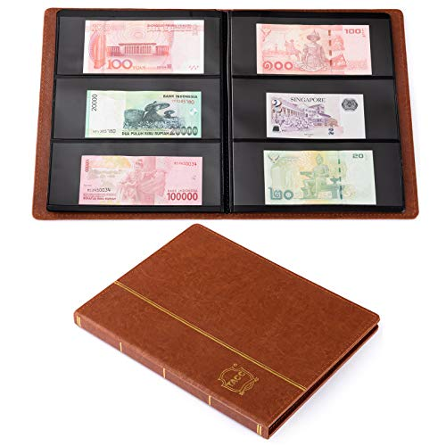 Ettonsun Leather 60-Pocket Paper Money Album Currency Holders for Collectors Collection Supplies Holder Book for Travel Bill Banknote Stamp Storage Display with 10 Collecting Pages (Brown)
