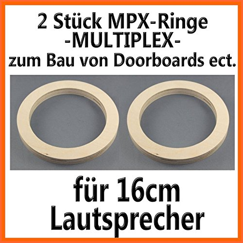 2 Stück 16,5cm Lautsprecherringe MPX Multiplex - 19mm Höhe