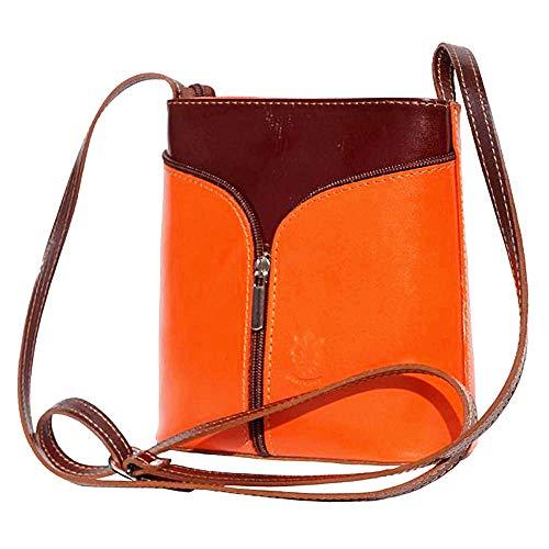 Bolso de hombro Naranja y Marron en cuero 18x7x19 cm - Florence - Made in Italy
