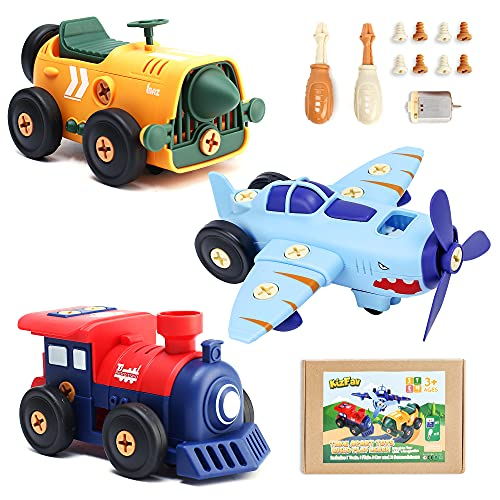 KizFav Electric Take Apart Toys for Kids Ages 4-7 Years, Car, Train, and Airplane Toy Vehicle Set,...