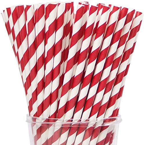Webake Paper Straws Biodegradable Bulk 200 Red Striped Drinking Straws, Great Alternative Disposable Straws to Plastic Straws Eco Friendly Straw for Valentine's Day Party, Cake Pop Sticks