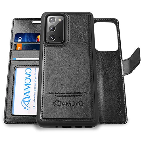 AMOVO Case for Galaxy Note 20 5G (6.7'') [2 in 1] for Samsung Galaxy Note 20 Wallet Case Detachable [Vegan Leather] [Wrist Strap] [Kickstand] Flip Case Removable Wallet Folio (Note 20 (6.7'') Black)