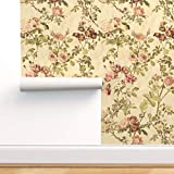 Spoonflower Pre-Pasted Removable Wallpaper, Watercolor Floral Vintage Botanical English Victorian Parchment Print, Water-Activated Wallpaper, 12in x 24in Test Swatch