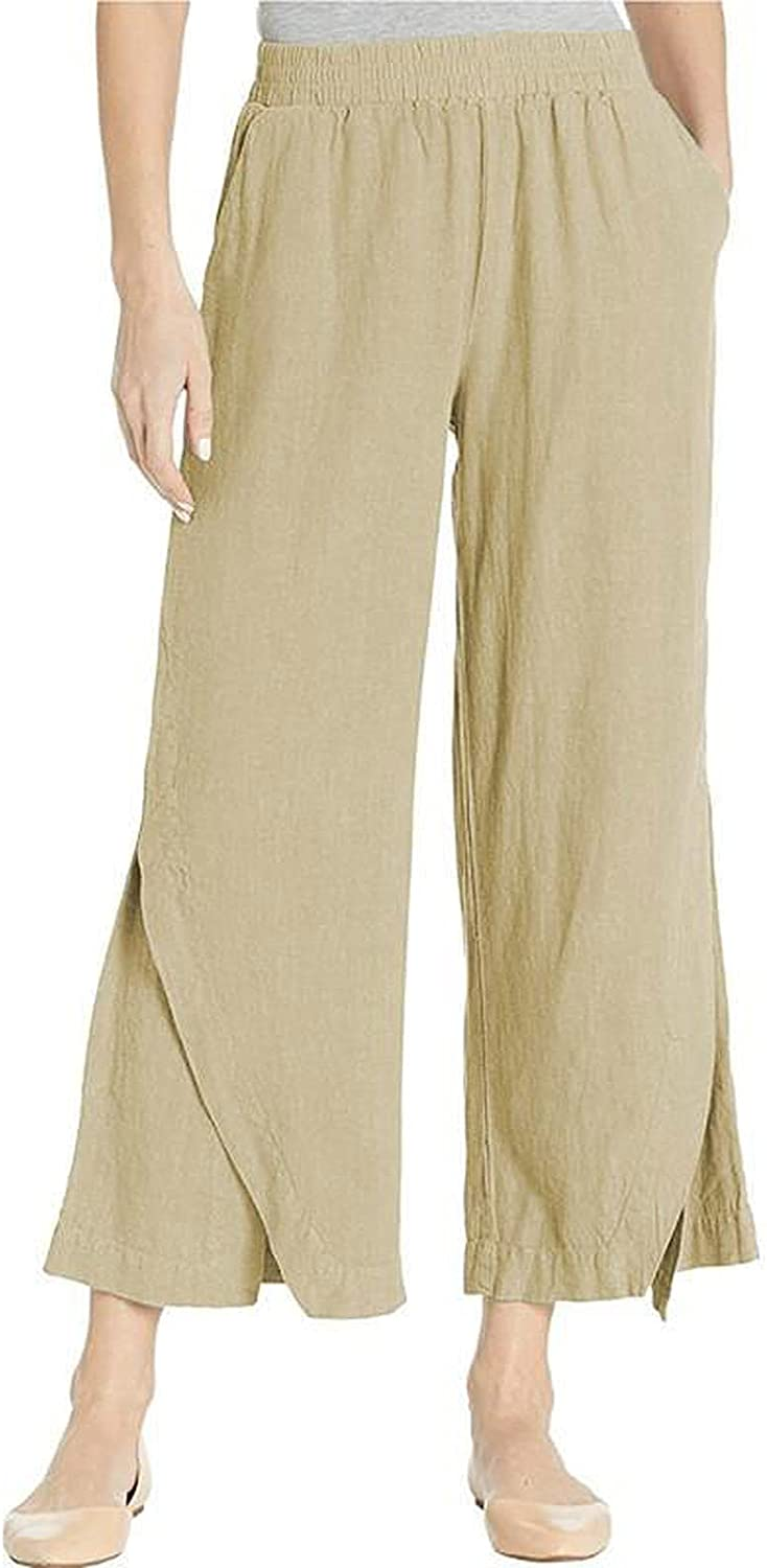 LOOKAA Women's Casual Drawstring Wide Leg Pants Cotton Linen Elastic Waist Trousers Women's Solid Color Cropped Pan