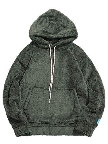 ZAFUL Herren Fluffy Hoodie Kunstpelz Solid Pouch Pocket Pullover Sweatshirt