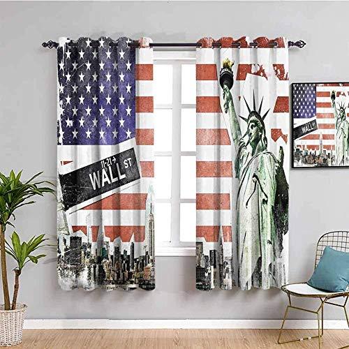 LucaSng Cortinas de Opacas - Estatua de la libertad nueva york ciudad arquitectura - 280x160 cm - para Sala Cuarto Comedor Salon Cocina Habitación - 3D Impresión Digital con Ojales Aislamiento Térmico