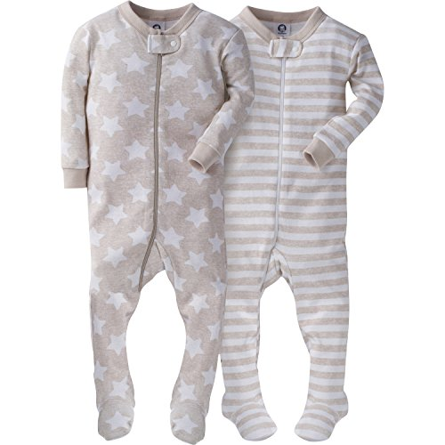 Gerber Baby Boys' 2 Pack Footed Sleeper, Stripes/Stars, 3 Months