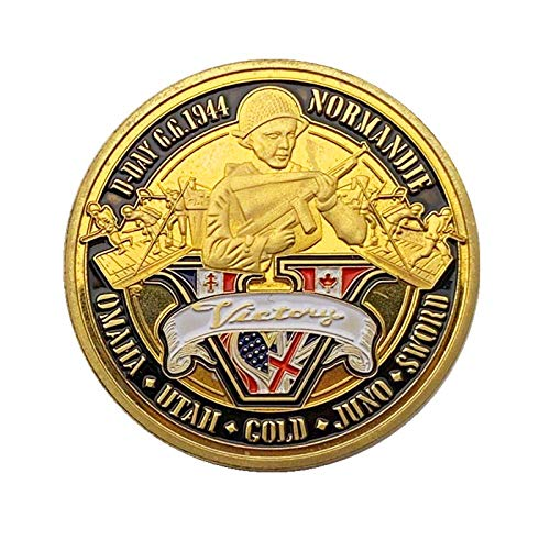 YPZMYGQ Sala conmemorativa chapada en oro para el 70 aniversario de la Segunda Guerra Romana Colección Metal Challenge Sala de la Segunda Guerra Mundial 1944 6 DÍAS