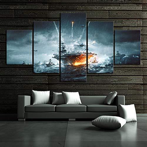 BAIOKAISHUII Hauptdekoration HD-Druck Gemälde 5 Panel Star Wars Battlefield 4 Schlachtschiff Bild Wandkunst modulare Leinwand Poster modern-Rahmenlos