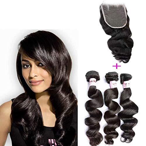 """Queengirl Trame de cheveux humains péruvienne vierge avec fermeture 3 paquets Extensions de cheveux crus à 100% Fermetures de dentelle 20 20 20inch+16"""" closure"""