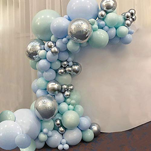 Blue Mint Green Silver Metallic Balloon Garland Arch Kit 116 Pastel Balloons with 16ft Balloon Strip Tape , balloon dots and Balloon Ribbon for Party Wedding Bridal Shower Birthday decoration