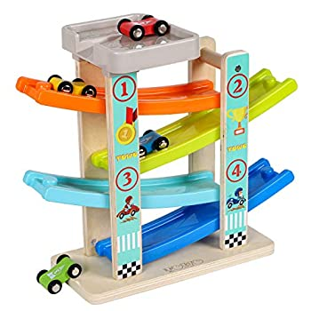 TOWO Wooden Car Ramp Toy- Zig Zag Car Slide with 4 Wooden Cars & Roof Top Car Park Playsets-Click Clack Track Wooden Car Toys for Toddlers -Racing Car Toys for Kids Boys Girls 1 2 3 4
