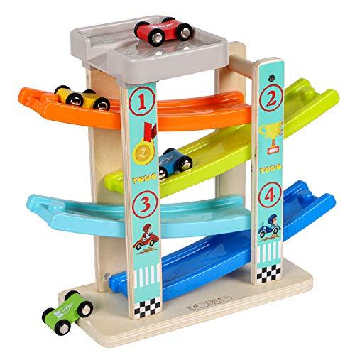 TOWO Pista per Auto in Legno -Rampa Auto Click-Clack con 4 Macchinine da Corsa in Legno per Bimbi Parcheggio sul Tetto e Piste a Zig-Zag - Giocattoli di Legno per Bambini di 1 2 3 4 Anni