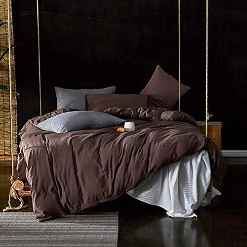 Conjuntos de tapa de edredón Cubierta de lino lavado Conjunto de ropa de cama Doble King Tamaño Brown Edredón Cubierta de cama Juego de cama Cama de cama doble con hoja de colcha colcha 220 veces; 240