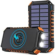 Solar Charger 26800mAh, Hiluckey Wireless Portable Charger Qi Power Bank with 4 Outputs & LED Flashlight, USB C Quick Charge Waterproof Phone Charger for Smartphones, Tablets and Outdoors