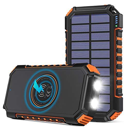 Hiluckey Wireless Solar Powerbank 26800mAh Wasserdichtes Solar Ladegerät USB C Externer Akku mit 4 Outputs, Qi Power Bank für iPhone, Samsung, Huawei, iPad und mehr