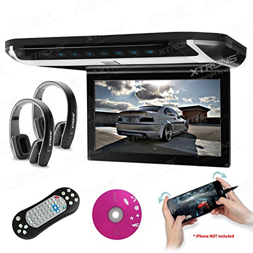 XTRONS 10  HD Digital TFT Monitor Car Roof Flip Down Overhead DVD Player Touch Panel Game Disc HDMI Port Black IR Headphones Included Grey