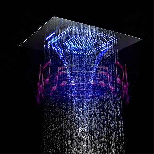 Purchase Nuanxingjiafang Shower Head with Remote Control Bathroom Shower Led Square Canopy Top Spray...
