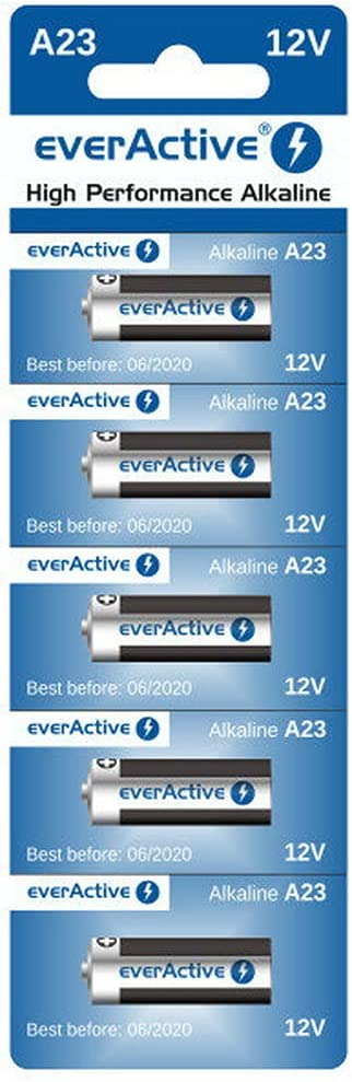 everActive A23 23A 12V 55mAh Alkaline Batteries - 5X Blisters