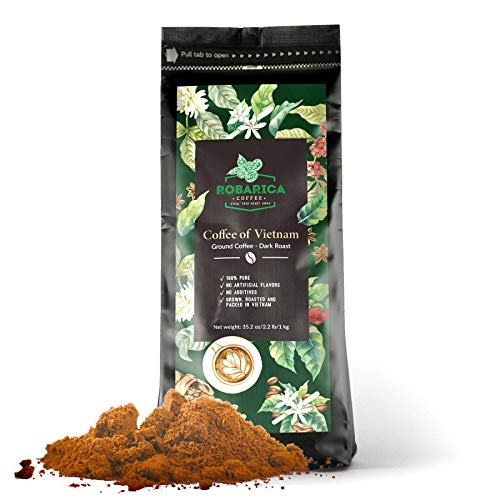 Vietnamese Coffee Ground for Strong Espresso Shots or Tasty Coffee with Condensed Milk - This High Caffeine Gourmet Coffee is Ideal as Low Acid Vietnamese Coffee Drip or Dark Roast Espresso Coffee