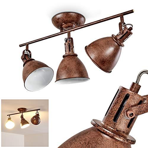 Plafondlamp Koppom, metalen plafondlamp in roestbruin/wit, 3-vlam, met verstelbare spots, 3 x E14 stopcontact max. 40 Watt, spot in retro/vintage uitvoering, geschikt voor LED-lampen