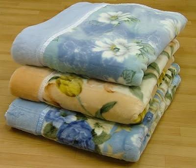 ノーブランド品 柄おまかせ 衿元あったか ボリュームタイプ マイヤー合わせ毛布 シングル ブルー・グリーン系