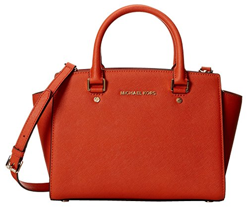 "Orange saffiano leather. Top zip closure. Exterior features tricolored patterns and gold-tone hardware. Double top handles with 4"" drop. Adjustable crossbody strap with 17-1/2 - 19-1/2"" drop Interior features 1 zip pocket, 2 slip pockets and key hold..."