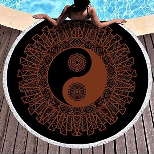 Yinyang Mandala Flower Artwork Print Tie Dye Toalla de Playa Redonda con borlas Manta de Toalla de Playa con Flecos Redondos de Moda 59 Pulgadas